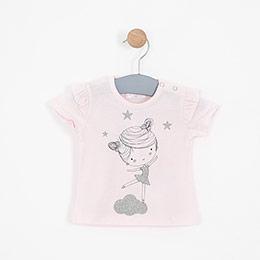 Kız Bebek Kısa Kollu Tişört Pembe (0-2 yaş)