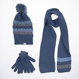 Erkek Çocuk Eldiven Atkı Bere Set Mavi (5-8 yaş)
