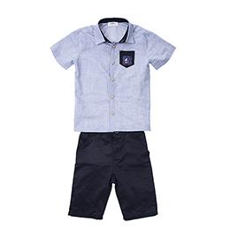 Erkek Çocuk Gömlek Şort Takım Lacivert (3-7 yaş)