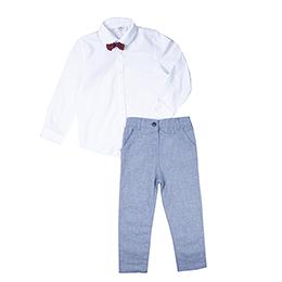 Erkek Çocuk Gömlek Pantolon Takım Gri (3-7 yaş)
