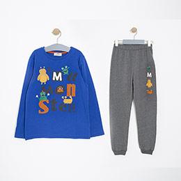 Erkek Çocuk Pijama Takımı Antrasit Melanj (3-12 Yaş)