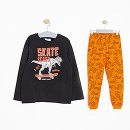 Erkek Çocuk Pijama Takımı Siyah/Turuncu (3-12 Yaş)