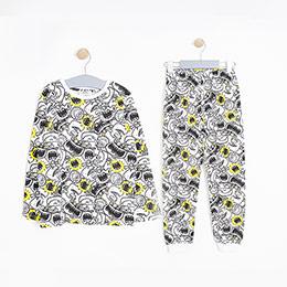 Erkek Çocuk Pijama Takımı Siyah/Beyaz (3-7 Yaş)