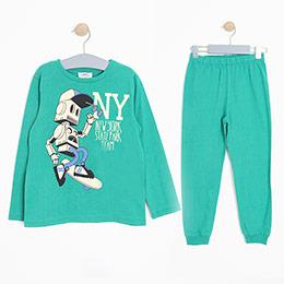 Erkek Çocuk Pijama Takımı Yeşil (3-12 Yaş)
