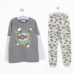 Erkek Çocuk Pijama Takımı Gri Melanj (3-12 Yaş)