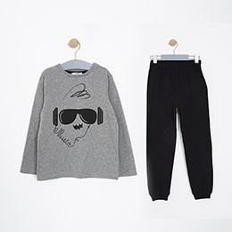 Erkek Çocuk Pijama Takımı Melanj/Siyah (3-12 Yaş)