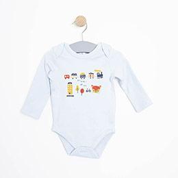 Erkek Bebek Uzun Kol Body Mavi (3-15 ay)