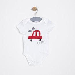 Erkek Bebek Kısa Kol Badi Beyaz (3-15 ay)