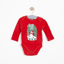 Erkek Bebek Uzun Kol Badi Kırmızı (3-15 ay)