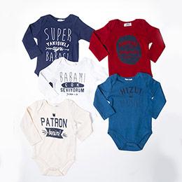 Erkek Bebek Uzun Kol Badi Set Karışık (3-15 ay)