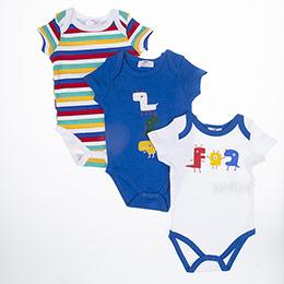Erkek Bebek Kısa Kol Badi Set Saks (3-15 ay)