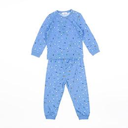 Erkek Bebek Pijama Takımı Mavi Melanj (9-24 ay)