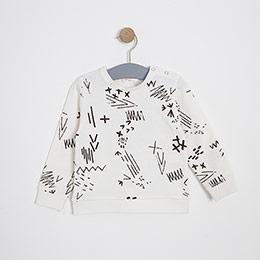 Erkek Bebek Sweatshirt Kırık Beyaz (9-24 ay)