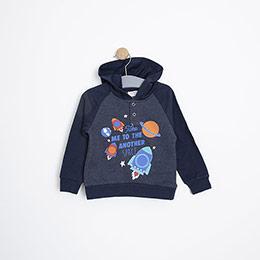 Erkek Bebek Sweatshirt İndigo Melanj (9-24 ay)