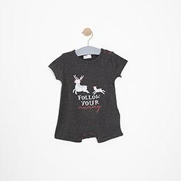 Erkek Bebek Kısa Kol Body Antrasit (3-24 ay)
