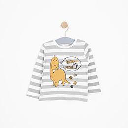 Erkek Bebek Uzun Kol Tişört Kırık Beyaz (9-24 ay)