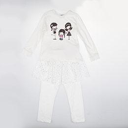 Kız Çocuk Alt Üst Örme Set Kırık Beyaz (3-7 yaş)