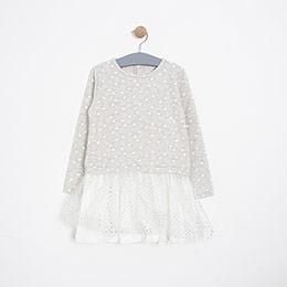 Kız Çocuk Elbise Gri Melanj (3-12 yaş)