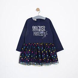 Kız Çocuk Elbise Lacivert (3-12 Yaş)