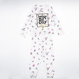 Kız Çocuk Pijama Takımı Kırık Beyaz (3-12 Yaş)