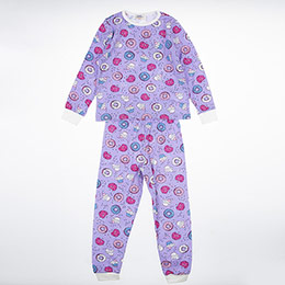 Kız Çocuk Pijama Takımı Lila (3-12 Yaş)