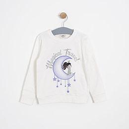 Kız Çocuk Sweatshirt Kırık Beyaz (3-7 yaş)
