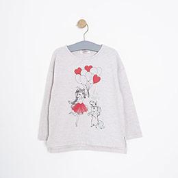 Kız Çocuk Uzun Kol Tişört Bej Melanj (3-7 yaş)