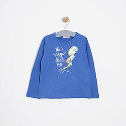 Kız Çocuk Uzun Kol Tişört Mavi (3-12 yaş)