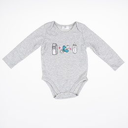 Kız Bebek Uzun Kol Body Gri Melanj (3-24 ay)