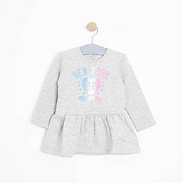 Kız Bebek Elbise Gri Melanj (3-15 ay)