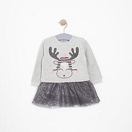 Kız Bebek Elbise Gri Melanj (12-24 ay)