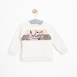 Kız Bebek Sweatshirt Bej Melanj (12-24 ay)