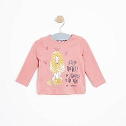 Kız Bebek Uzun Kol Tişört Somon (3-15 ay)