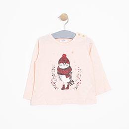 Kız Bebek Uzun Kol Tişört Somon (12-24 ay)