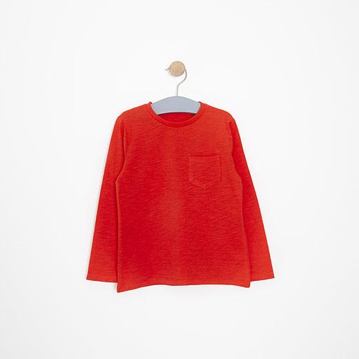Erkek Çocuk Uzun Kol Tişört Kırmızı (3-12 yaş)