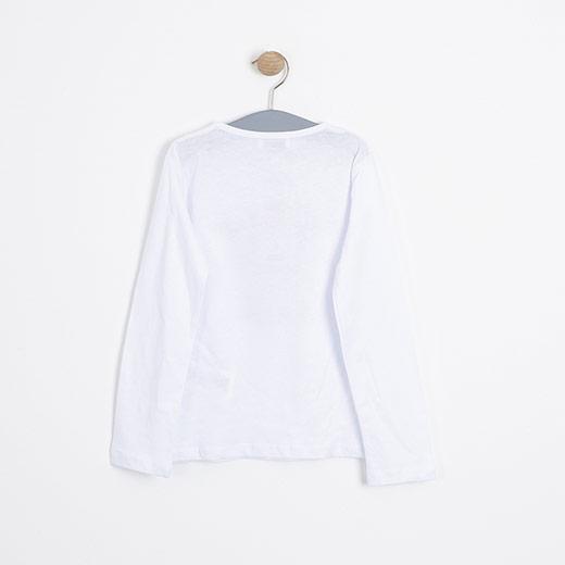 Kız Çocuk Uzun Kol Tişört Kırık Beyaz (3-12 yaş)