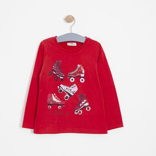 Kız Çocuk Uzun Kol Tişört Kırmızı (3-12 yaş )