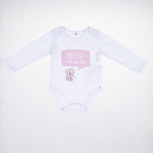 Kız Bebek Uzun Kol Body Beyaz (3-24 ay)