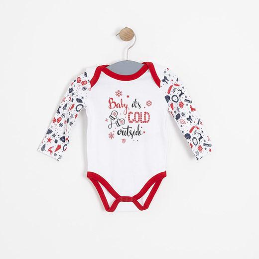 Kız Bebek Uzun Kol Badi Beyaz (3-15 ay)