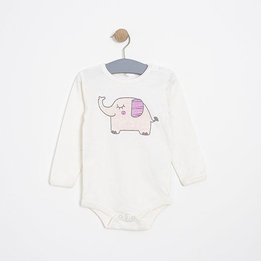 Kız Bebek Uzun Kol Badi Pembe (12-24 ay)