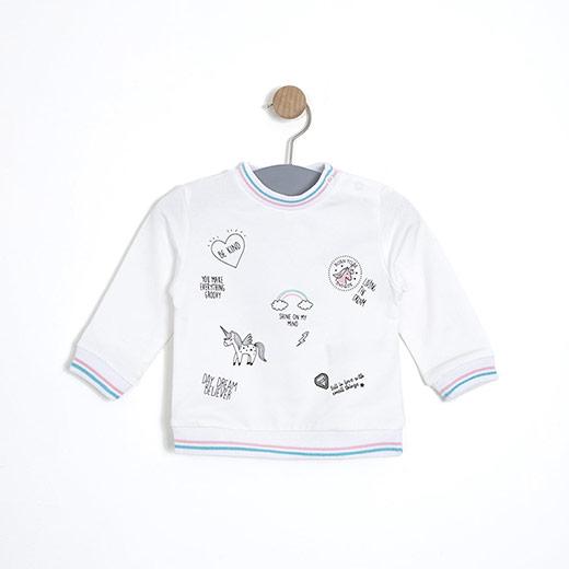 Kız Bebek Sweatshirt Beyaz (12-24 ay)