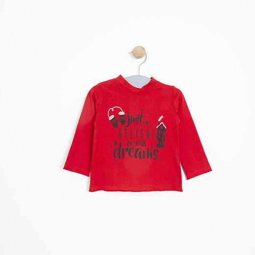Kız Bebek Uzun Kol Tişört Kırmızı (12-24 ay)