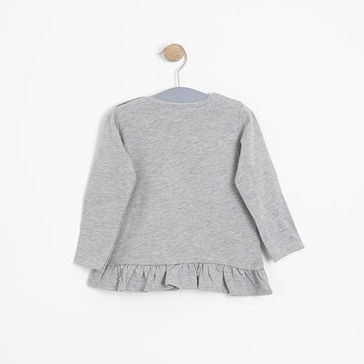 Kız Bebek Uzun Kol Tişört Gri Melanj (12-24 ay)