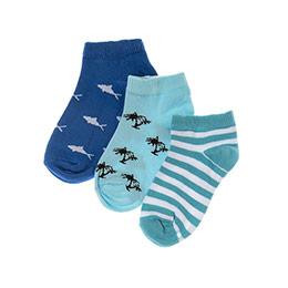 Erkek Çocuk 3lü Patik Çorap Turkuaz (23-34 numara)