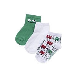 Erkek Çocuk 3lü Patik Çorap Beyaz (23-34 numara)