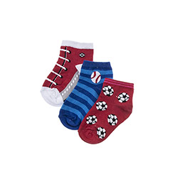 Erkek Çocuk 3lü Patik Çorap Kırmızı (23-34 numara)