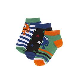 Erkek Çocuk 3lü Patik Çorap Yeşil (23-34 numara)