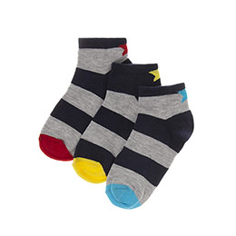 Erkek Çocuk 3lü Patik Çorap Gri (23-34 numara)