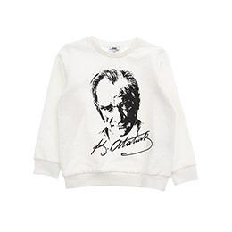 Erkek Çocuk Atatürk Baskılı Sweatshirt Kırık Beyaz (3-7 Yaş)