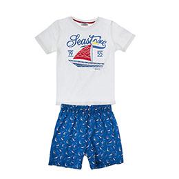 Erkek Çocuk Pijama Takımı Beyaz (3-7 Yaş)